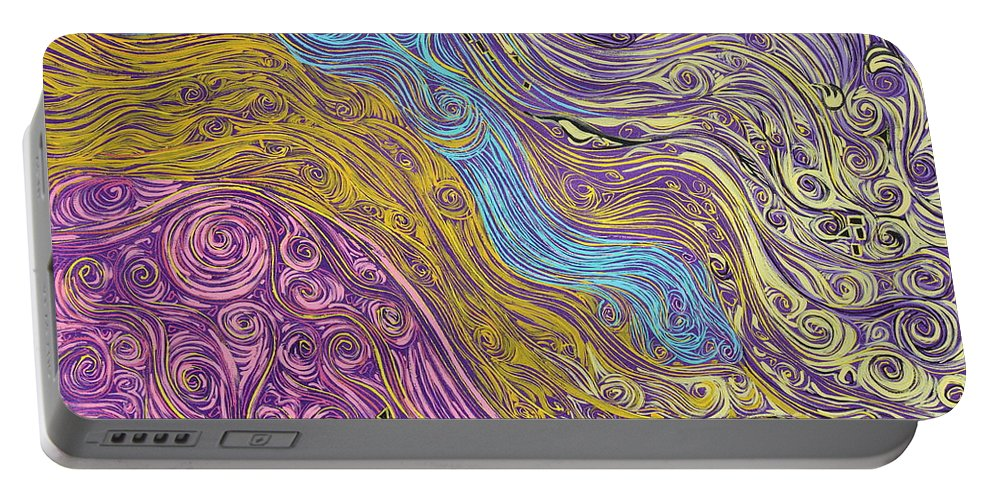 Impressionism Portable Battery Charger featuring the painting Superstring Aflowing by Stefan Duncan