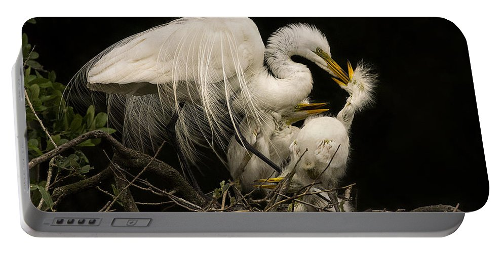 Great Egret Portable Battery Charger featuring the photograph Suppertime by Priscilla Burgers