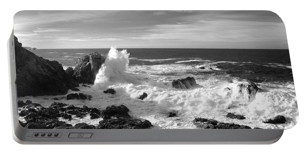 Seascape Portable Battery Charger featuring the photograph Surf At Cambria by Barbara Snyder