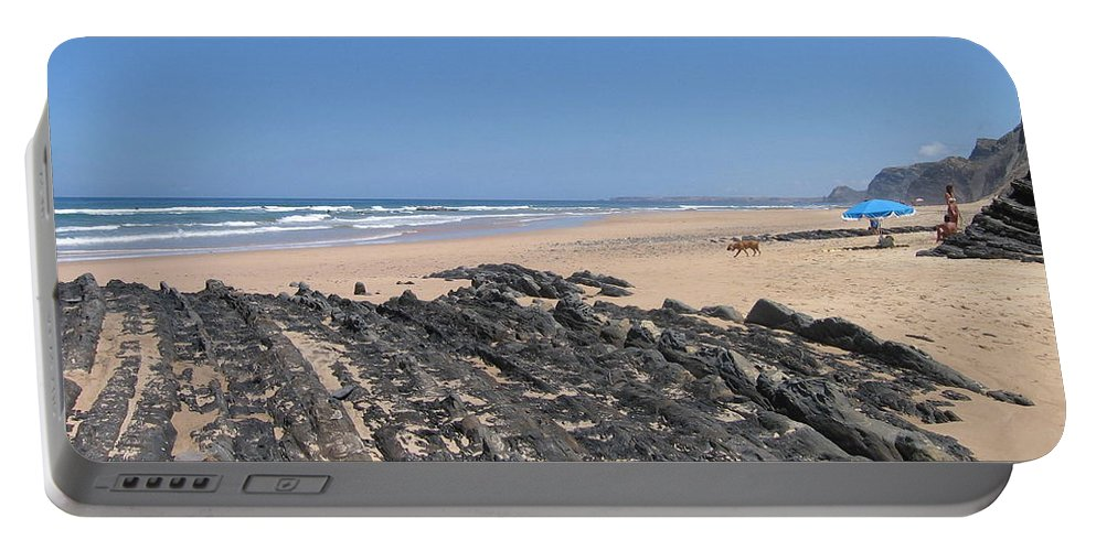 Portugal Portable Battery Charger featuring the photograph Surf Beach Portugal by Kimberly Maxwell Grantier
