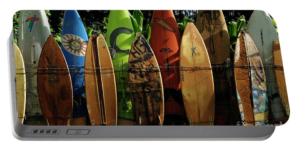 Hawaii Portable Battery Charger featuring the photograph Surfboard Fence 4 by Bob Christopher