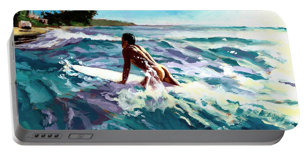 Surfer Portable Battery Charger featuring the painting Surfer Coming In by Douglas Simonson