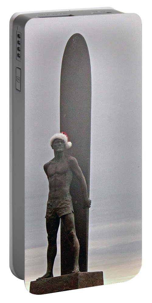 Santa Portable Battery Charger featuring the photograph Surfer Santa by Lora Lee Chapman