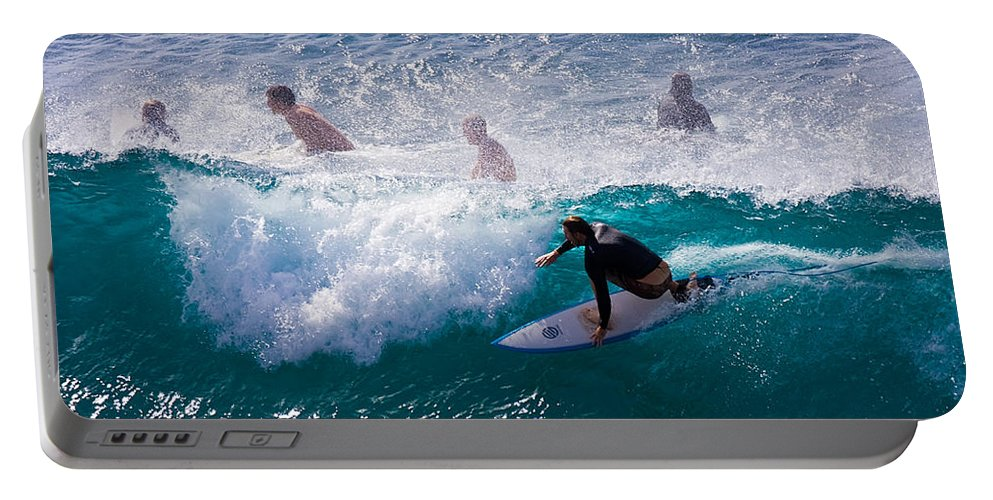 3scape Photos Portable Battery Charger featuring the photograph Surfing Maui by Adam Romanowicz