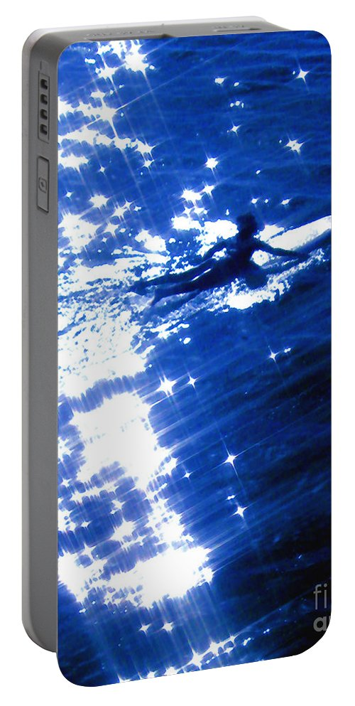 Cosmic Portable Battery Charger featuring the photograph Surfing The Stars by Jerome Stumphauzer