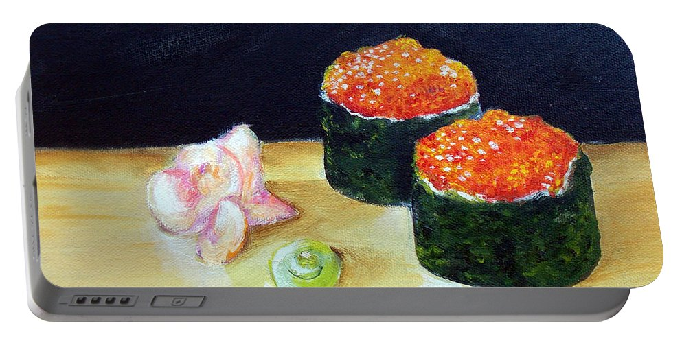 Sushi Portable Battery Charger featuring the painting Sushi 6 by To-Tam Gerwe