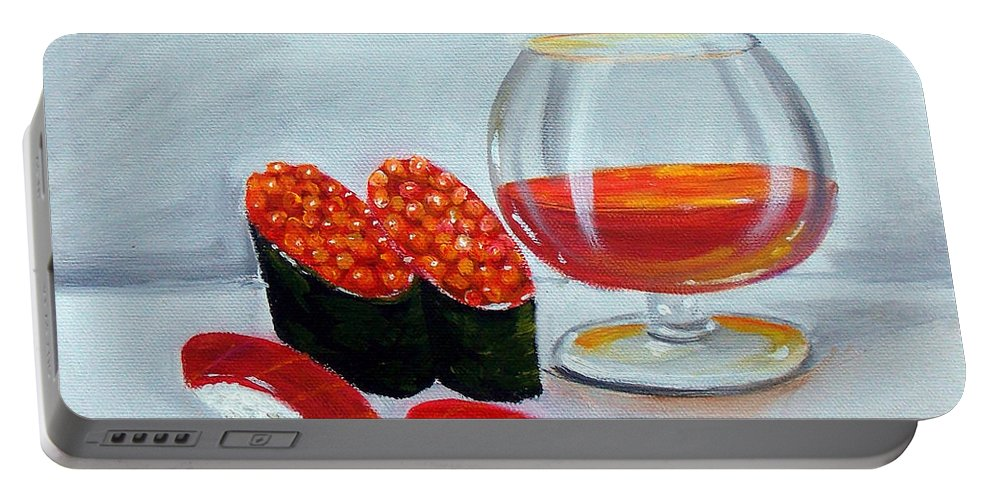 Sushi Portable Battery Charger featuring the painting Sushi 7 by To-Tam Gerwe