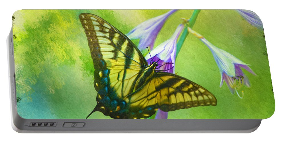 Eastern Tiger Swallowtail Butterfly Portable Battery Charger featuring the photograph Swallowtail Visits Hosta Flowers by Sandi OReilly