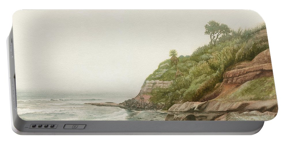 Swami�s Beach Portable Battery Charger featuring the painting Swami's In Winter by Mara Mattia