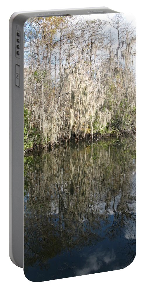 Swamp Portable Battery Charger featuring the photograph Bold Cypress Reflection by Christiane Schulze Art And Photography