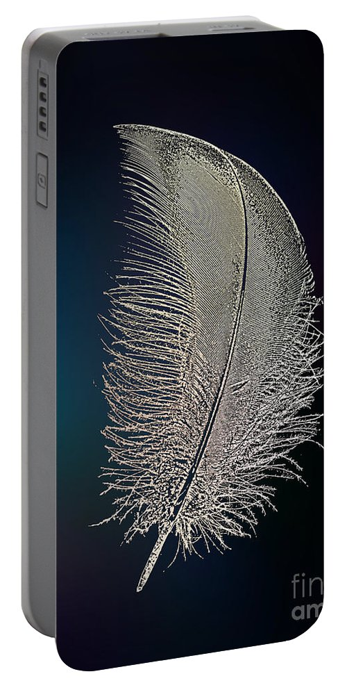 Digital Portable Battery Charger featuring the digital art Swan Feather by Klara Acel