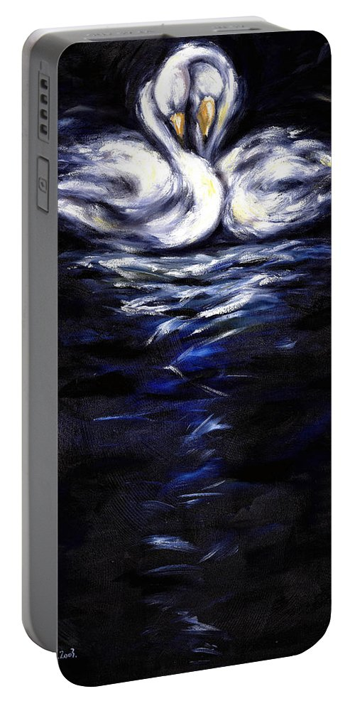 Bird Portable Battery Charger featuring the painting Swan by Hiroko Sakai