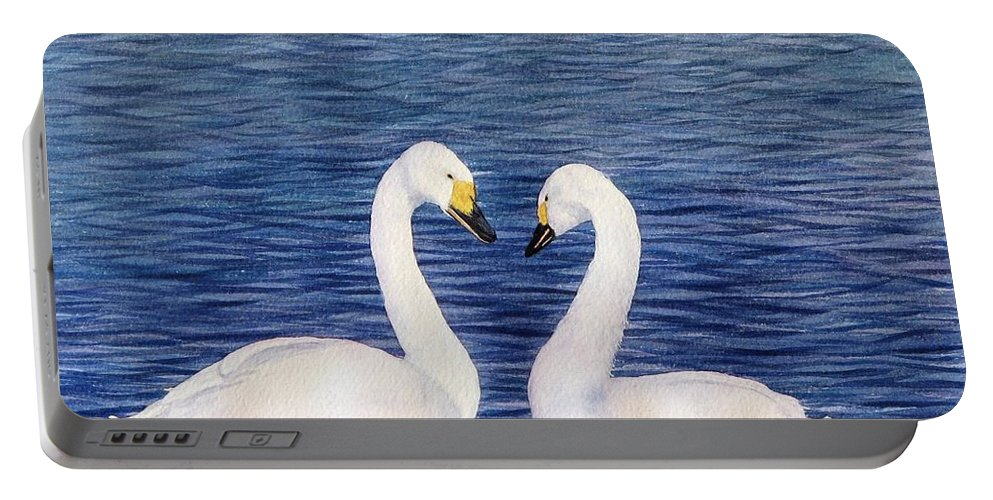 Swans Portable Battery Charger featuring the painting Swan Love by Sharon Farber