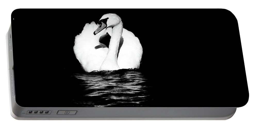 Swan Portable Battery Charger featuring the photograph Swan White On Black by Karol Livote