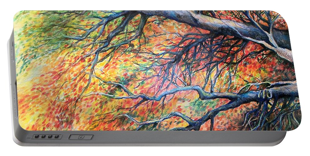 Landscape Portable Battery Charger featuring the drawing Sway Dancing Trees by Linda Shackelford