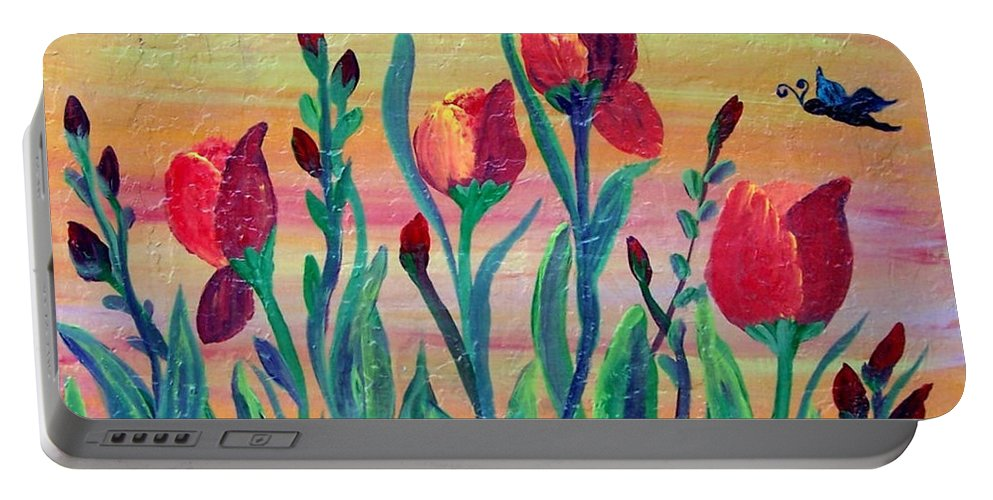 Mosaic Portable Battery Charger featuring the painting Swaying by Cynthia Amaral