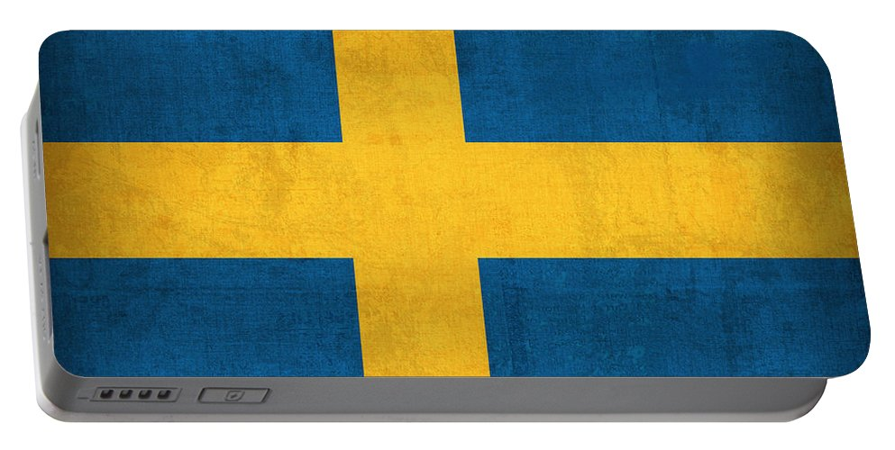 Sweden Flag Vintage Distressed Finish Portable Battery Charger featuring the mixed media Sweden Flag Vintage Distressed Finish by Design Turnpike