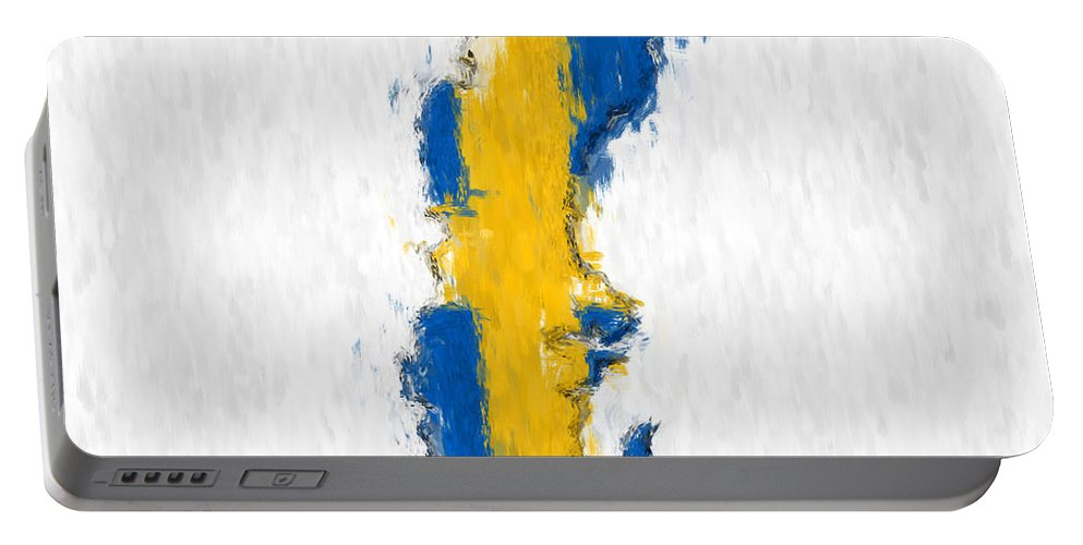 Sweden Portable Battery Charger featuring the photograph Sweden Painted Flag Map by Antony McAulay