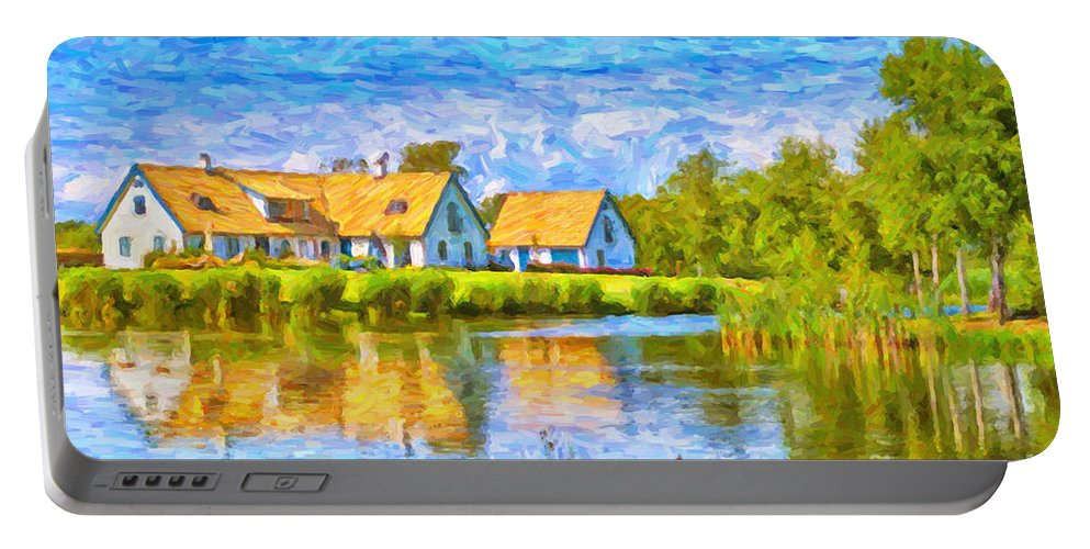 Torekov Portable Battery Charger featuring the painting Swedish Lakehouse by Antony McAulay