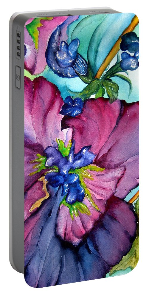 Wildflowers Portable Battery Charger featuring the painting Sweet And Wild In Turquoise And Pink by Lil Taylor