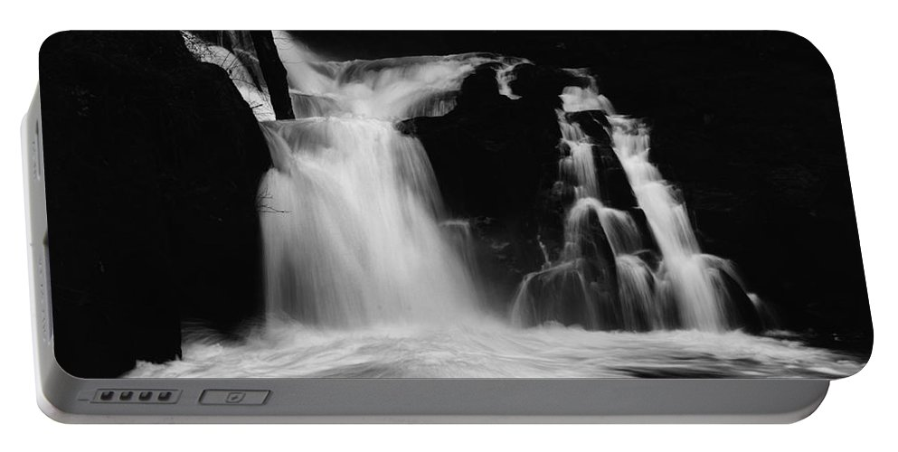 Sweet Creek Portable Battery Charger featuring the photograph Sweet Creek Falls Oregon Monochrome by Bob Christopher