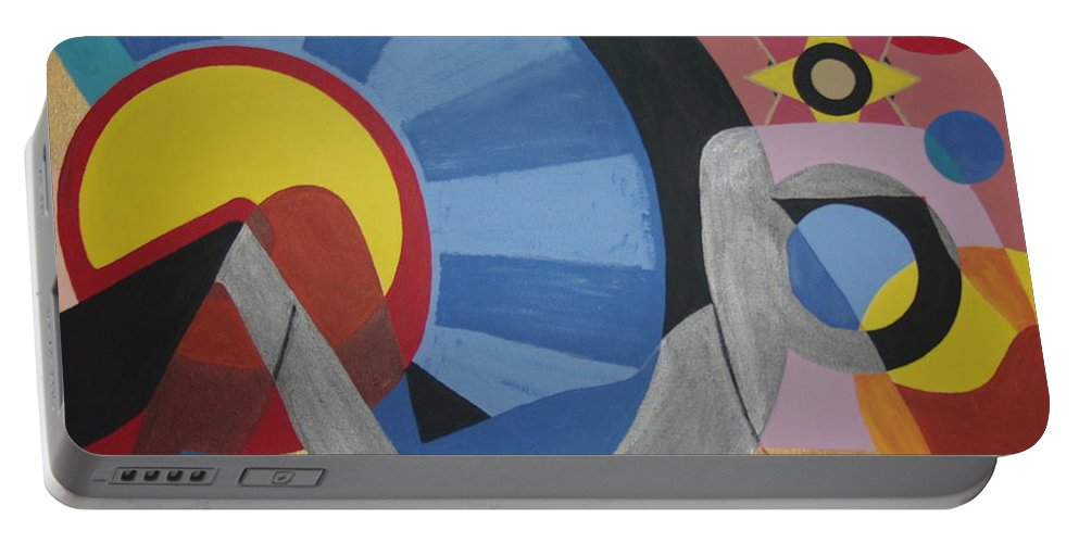 Abstract Portable Battery Charger featuring the painting Sweet Dreams are made of these by Dean Stephens