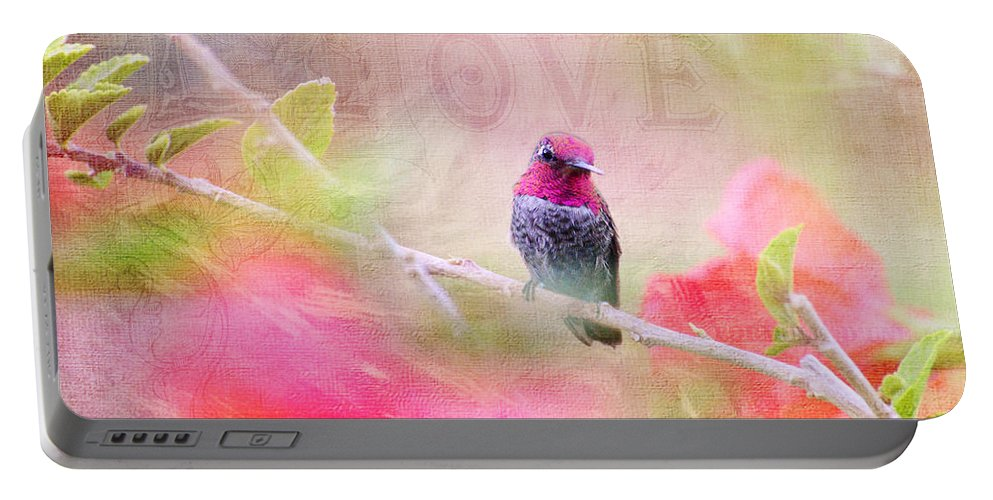 Hummingbird Portable Battery Charger featuring the photograph Sweet Hummingbird Love by Lynn Bauer