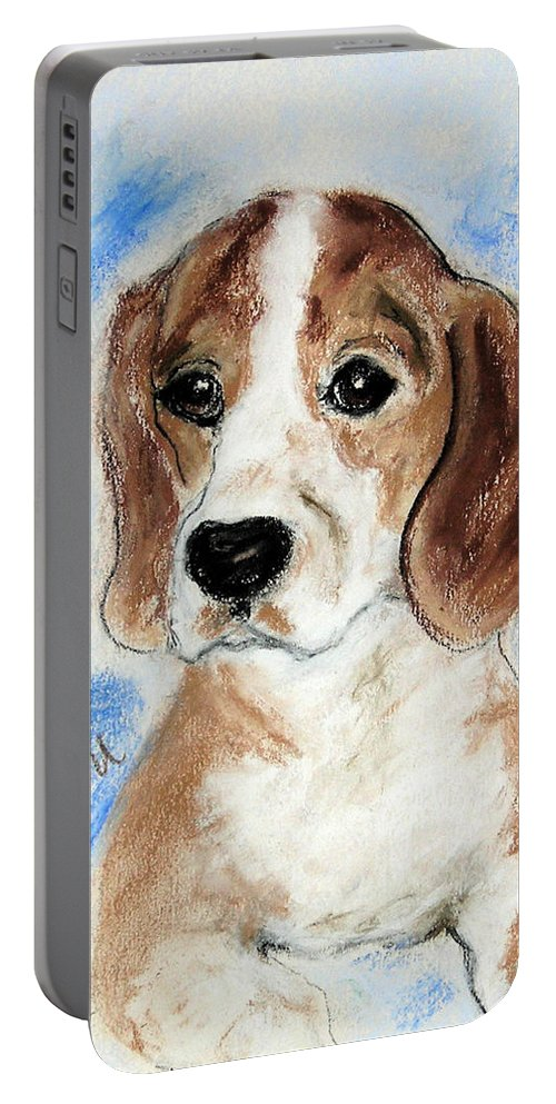 Dog Portable Battery Charger featuring the drawing Sweet Innocence by Cori Solomon