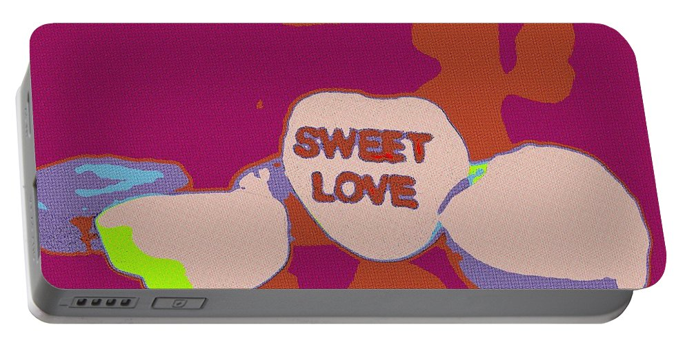 Sweet Portable Battery Charger featuring the painting Sweet Love Candy by Florian Rodarte
