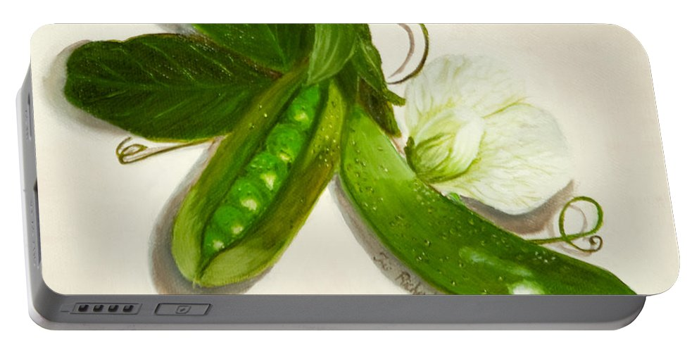 Pea Portable Battery Charger featuring the painting Pea Pods by Iris Richardson