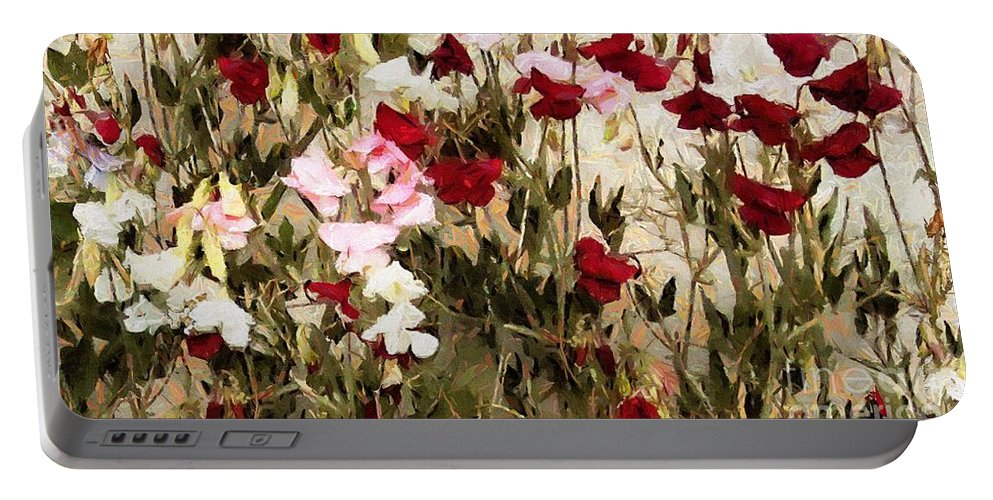 Flowers Portable Battery Charger featuring the painting Sweet Pea Swath by RC DeWinter