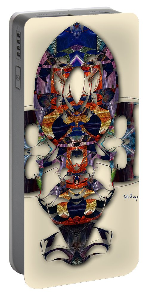 Colorful Portable Battery Charger featuring the digital art Sweet Symmetry - Projections by Mike Butler