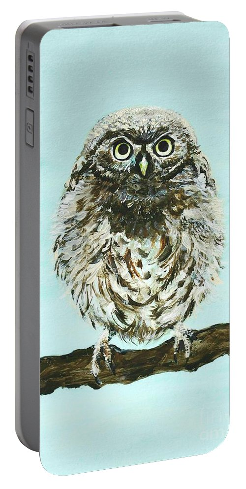 Owl Portable Battery Charger featuring the painting Sweetest Baby Owl by Leslie Allen