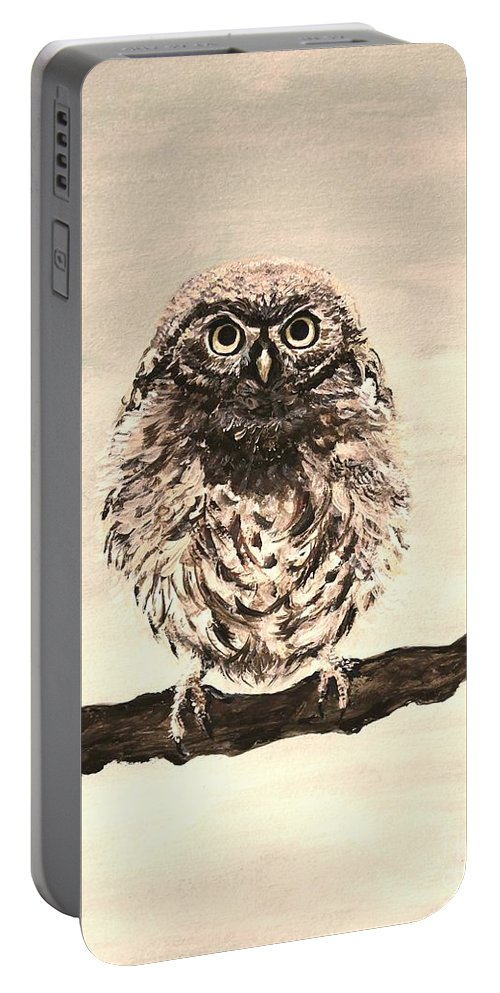 Owl Portable Battery Charger featuring the painting Sweetest Owl by Leslie Allen