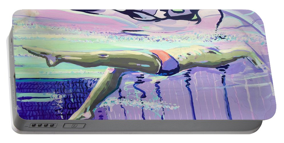 Swimming Portable Battery Charger featuring the painting Swimming by Lucia Hoogervorst