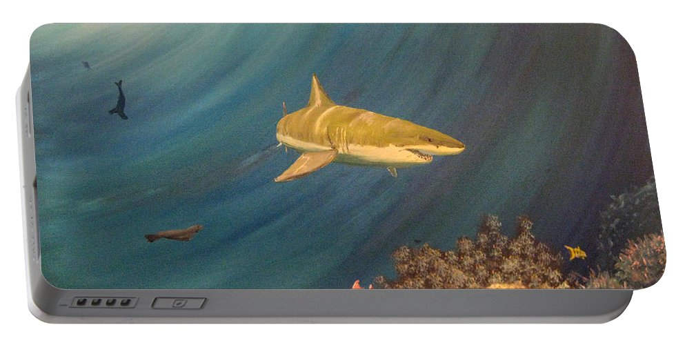 Shark Portable Battery Charger featuring the painting Swimming With Sharks by Nick Robinson