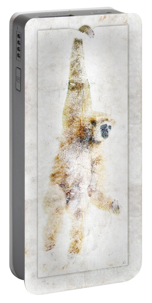 Zoo Animals Portable Battery Charger featuring the digital art Swinging Gibbon by Nola Lee Kelsey
