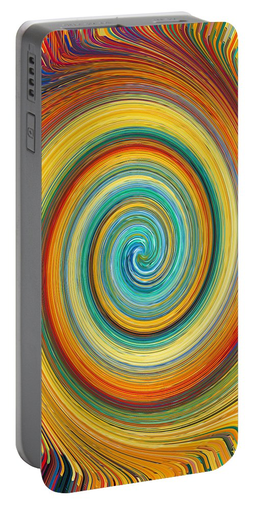 Swirl Portable Battery Charger featuring the painting Swirl 82 by Jeelan Clark