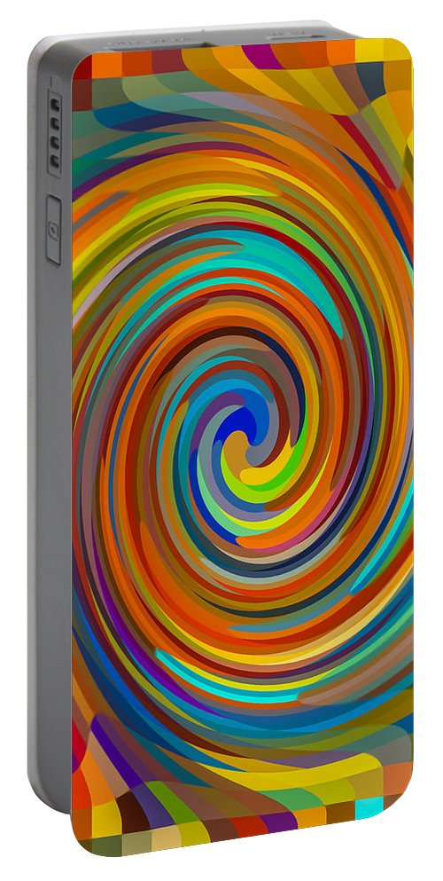 Portable Battery Charger featuring the painting Swirl 83 by Jeelan Clark