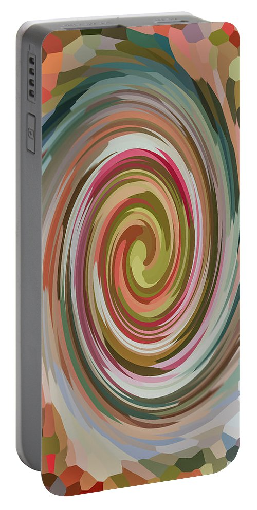 Swirl Portable Battery Charger featuring the painting Swirl 92 by Jeelan Clark