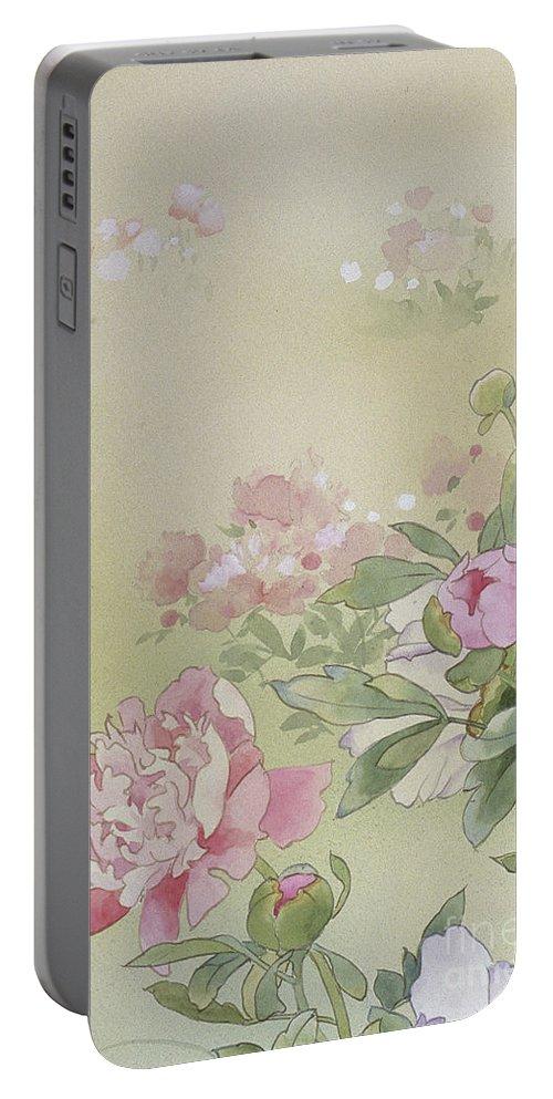 Haruyo Morita Portable Battery Charger featuring the digital art Syakuyaku Crop I by MGL Meiklejohn Graphics Licensing