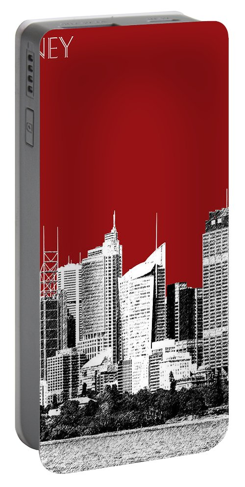 Architecture Portable Battery Charger featuring the digital art Sydney Skyline 1 - Dark Red by DB Artist