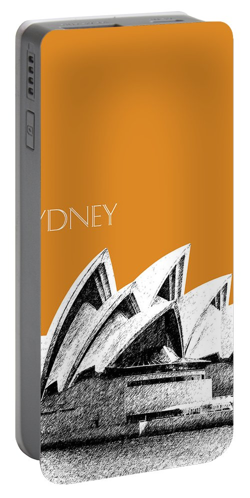 Architecture Portable Battery Charger featuring the digital art Sydney Skyline 3 Opera House - Dark Orange by DB Artist