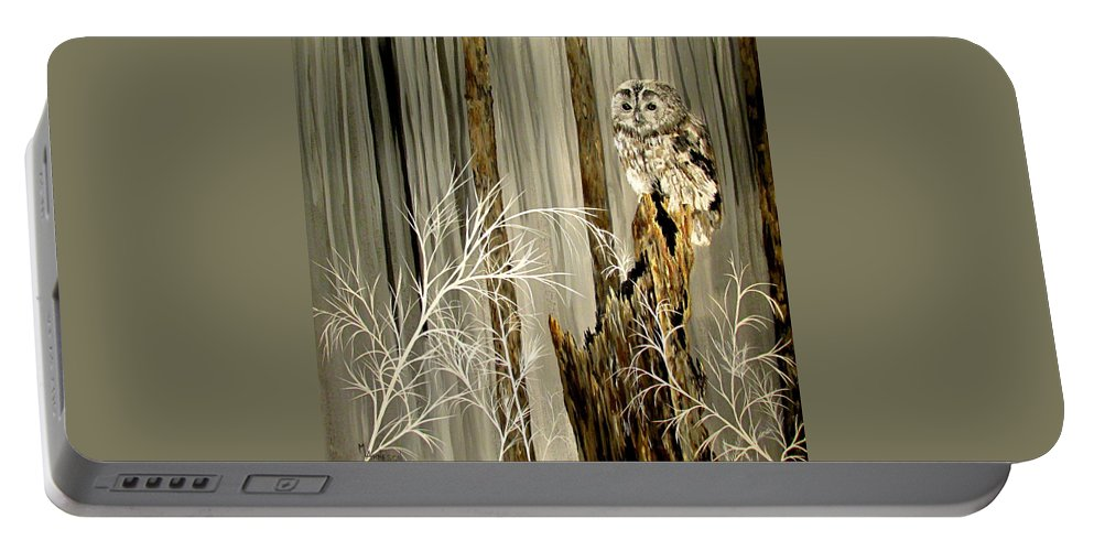 Owls Portable Battery Charger featuring the painting Sylvan Wings by Mary Arneson