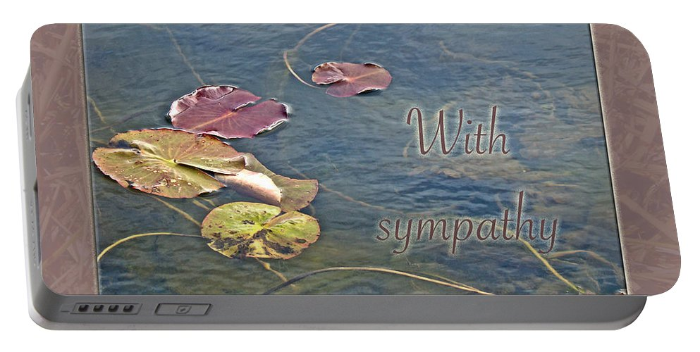 Sympathy Portable Battery Charger featuring the photograph Sympathy Greeting Card - Autumn Lily Pads by Mother Nature