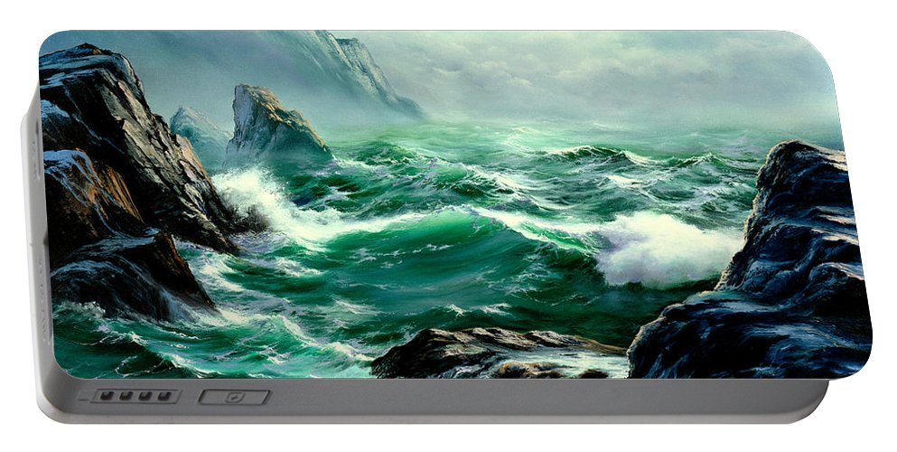 Seascapes Portable Battery Charger featuring the painting Symphony by Sharon Abbott-Furze