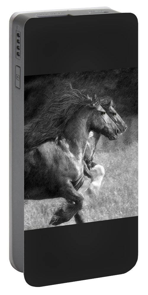 Horse Portable Battery Charger featuring the digital art Synchronicity by Fran J Scott
