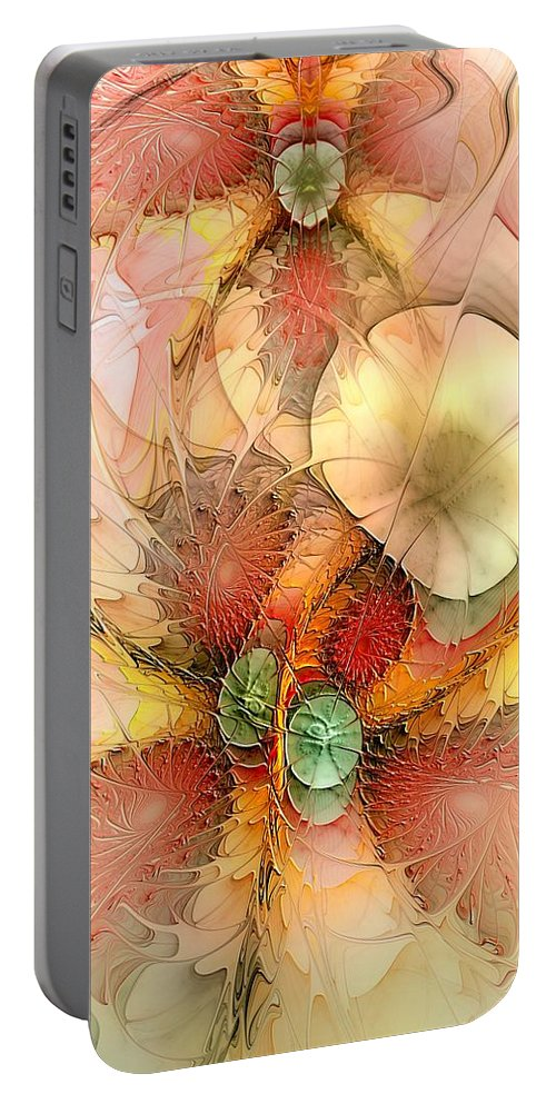 Abstract Portable Battery Charger featuring the digital art Syncopated Summer Passion by Casey Kotas
