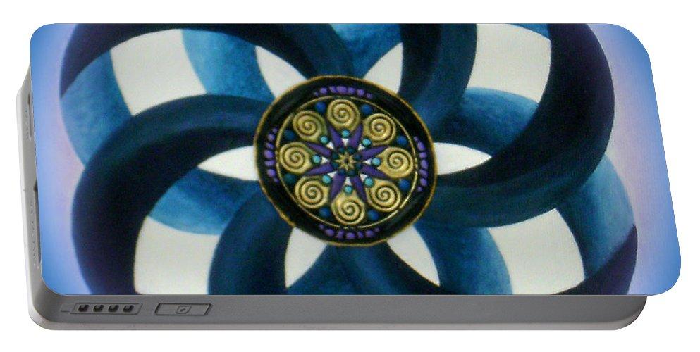 Mandala Paintings Portable Battery Charger featuring the painting Synergy Mandala 1 by Maya B