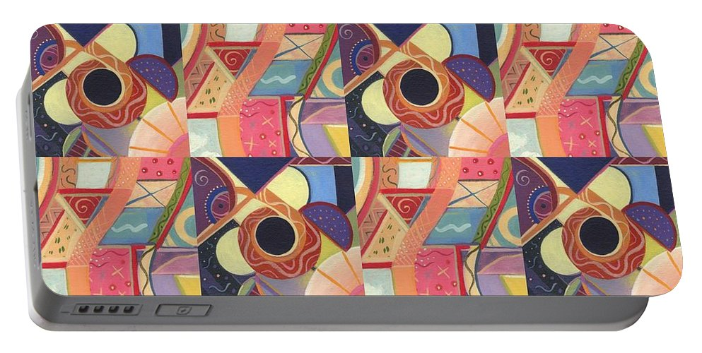 Abstract Portable Battery Charger featuring the painting T J O D Tile Variations 19 by Helena Tiainen